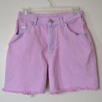 "Dyed Pink 27"" Waist Vintage Lee Denim SHORTS - Hand Dyed Pastel Pink Denim Urban High Waist Distressed Lee Denim Shorts - Size 8 (27-28)"