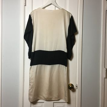 Vintage 20s women's black & white silk midi dress sz M