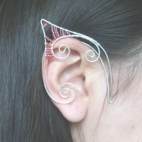 Silver Plated Handmade Wire Wrapped Elf Ear Cuffs With Red Seed Beads, Faery Earcuffs, Pixie Ear Cuffs LARP