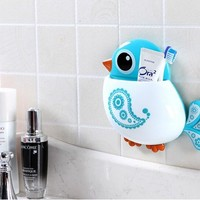 New Fashion Retail Creative Bird Pattern Suction Cup Toothbrush Holder House Kitchen Storage Tool Bathroom Sets Free Shipping