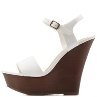 White Single Strap Wooden Platform Wedges by Charlotte Russe