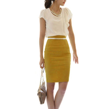High Waist Slim Fit Knee Length Straight Pencil Skirt