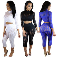 High Neck Crop Top Skinny Pants Burn Cloth Two Pieces Set