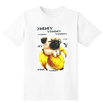Adorable Pug In a Banana Illustrated Graphic Print T-Shirt | DOTOLY