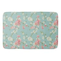 Japanese,cherry blossom,teal,white,pink,floral,fun bath mats