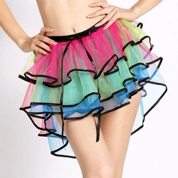 ONETOW Hot Adult Women Tutu Tulle Skirt Petticoat Dance Rave Neon Party Halloween Skirt 7_S (Size: M) = 1905840324