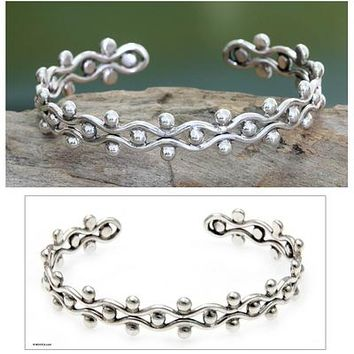 Sterling Silver Cuff Bracelet from Indonesia - Floral Buds | NOVICA