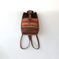 Vintage kilim rucksack. leather backpack. Tapestry boho shoulder bag - purse.