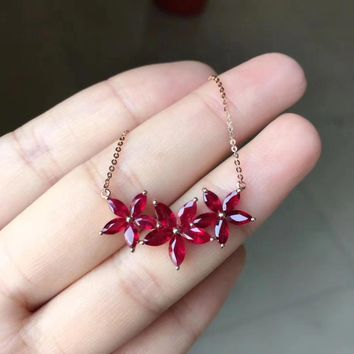 Natural red ruby gem Elegant flowers Necklace Natural gemstone Pendant Necklace 925 sliver women Girl gift wedding Jewelry