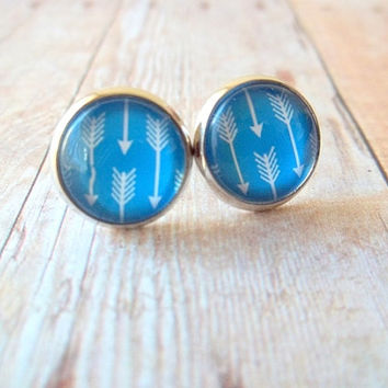 C O B A L T - Cobalt Blue and White Arrow Geo Photo Glass Cab Circle Gunmetal Silver Plated Post Earrings