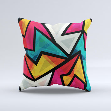 The Retro Vector Sharp Shapes ink-Fuzed Decorative Throw Pillow