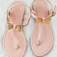 Womens Sandals Bow Design Gladiator T-Strap Flat Shoes in Blush Or Black New