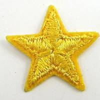 Star Yellow with Embroidered Iron-On 1.25""