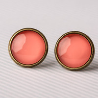 Bright Coral Glass Earrings