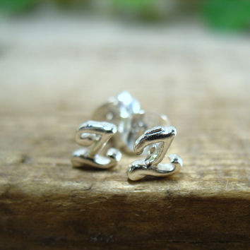 Stud Earrings Sterling Silver Monogram