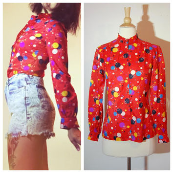 College Town Blouse Red Polka Dot Colorful Balloons Collared 1970's Preppy Fun Party Blouse size Small