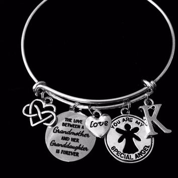 You are My Special Angel Charm Bracelet Granddaughter Grandmother Expandable Adjustable Silver Bangle Gift