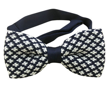 Navy Houndstooth Knit Bow Tie