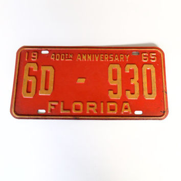 1965 Florida License Plate - 400th Anniversary - Classic Car - Historic Plates - St. Augustine - Palm Beach