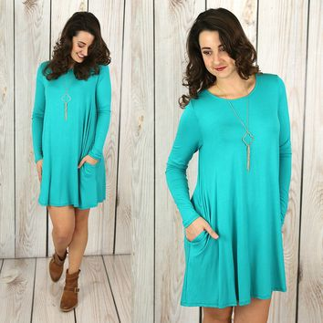 Oh Happy Day Dress in Teal
