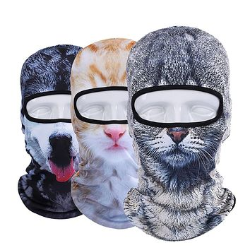 New 3D Animal Cat Dog Bicycle Motorcycle Bicycle Hats Balaclava Windproof Snowboard Party Halloween Full Face Mask Winter Warmer