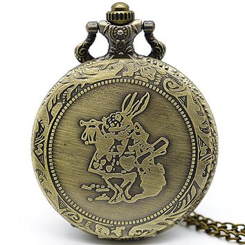 Retro Anime Alice In Wonderland Pocket Watch Necklace For Men Vintage Bronze Flip Quartz Fob Antique Clock Chain Pendant TD2108