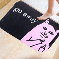 40x60cm Coral Fleece Cat Pattern Non-slip Floor Mat Kitchen Bedroom Bathroom Doormat