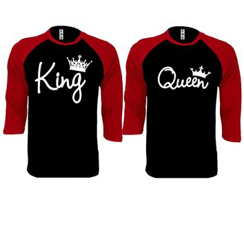 King and Queen Write Couple Black / Red Baseball T-shirt