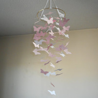 Blush pink and white Floating Butterfly mobile! Nursery mobile,Crib mobile,Happy Birthday,Wedding.Gift.Teen/tween.Choose Your Colors!