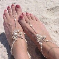 Beach Wedding Barefoot Sandals | IndigoGraffiti - Jewelry on ArtFire