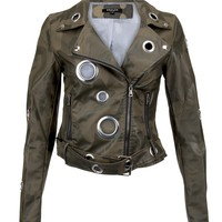 I won't back down Camo Moto Jacket with Grommets