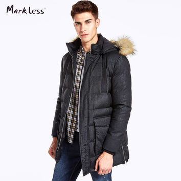 Thick And Long Fur Trim Hooded Men Winter Coats Clothing Casual Down Jackets Men Rib Sleeve Outwear