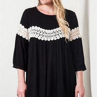 Peek of Lace Baby Doll Dress - Black - Curvy