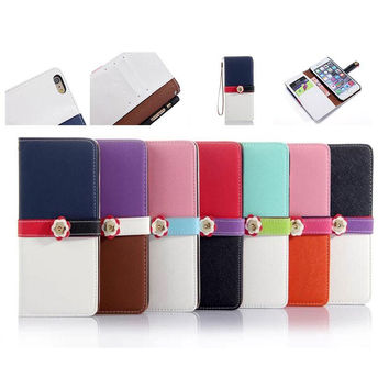 Fashion Hit Color Style Leather Wallet Card holder Case with Flower Belt Buckle Hard plastic cases For iphone 6 iphone5 iphone6 5G 5SE 1pcs
