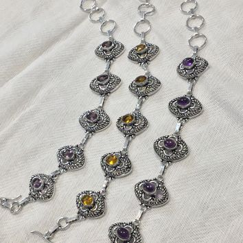 Filigree gemstone silver bracelet 7-8.5""