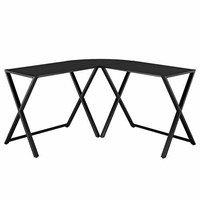 X-frame Glass & Metal L-Shaped Computer Desk - Black/Black