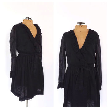 Vintage 1970s Wrap Dress Black Cotton Mini Sundress Flirty Ruffled 70s Day Dress Size Small Boho Dress Short 1960's Mod Dress Gogo Dancer
