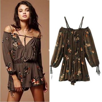 ac VLXC Women's Fashion Summer Print Long Sleeve Vacation Strapless Jumpsuit [10591807500]