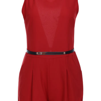 Red Backless Romper with Belt