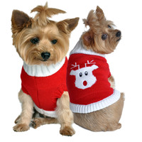 Doggie Design Red Rudolph Holiday Dog Sweater