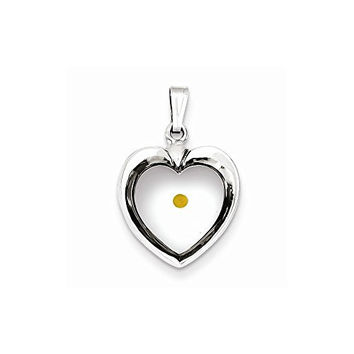 Sterling Silver Large Heart with Mustard Seed Pendant, Best Quality Free Gift Box Satisfaction Guaranteed