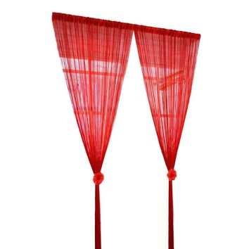 String Voile Curtain Screen Decor Divider Room Home Separate Drape Hallway