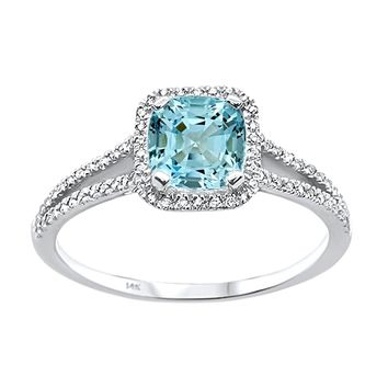 1.08tcw Cushion Aquamarine & Diamonds in 14K White Gold Solitaire Halo Ring