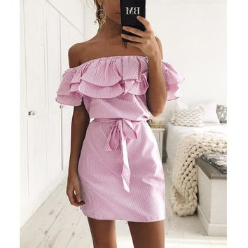 SHIBEVER Summer Women Casual Dress Ruff Slash Neck Lady Beach Dress Sexy Mini Party Dresses Off Shoulder Vestidos Fashion ALD198