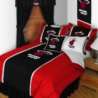 NBA Miami Heat 7pc Bedding Set - Comforter Sheets Full Bed
