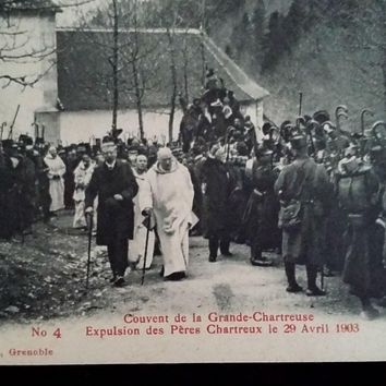 Six 1903 Expulsion of the Monks of Chartreuse Photo Postcards
