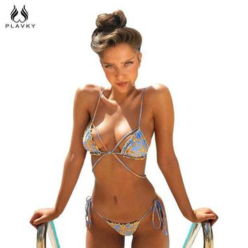 DCCKFV3 PLAVKY Sexy Strappy Bead Exotic Starfish Ruffle Biquini Micro String Swim Bathing Suit Bandage Swimsuit Swimwear Women Bikini