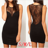 Backless lace stitching perspective sexy dress