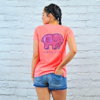 Perfect Fit Neon Coral Blue Foil Aztec Tee