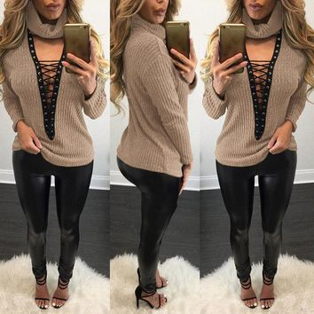Fashion Bandage Deep Cross Lace Up V Neck Sweater Knitwear Pullover